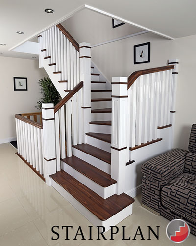 the new england staircase white stair with black walnut treads and handrails