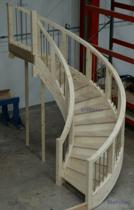 Wreath and curved staircase handrail from stairplan Curved staircase design plans