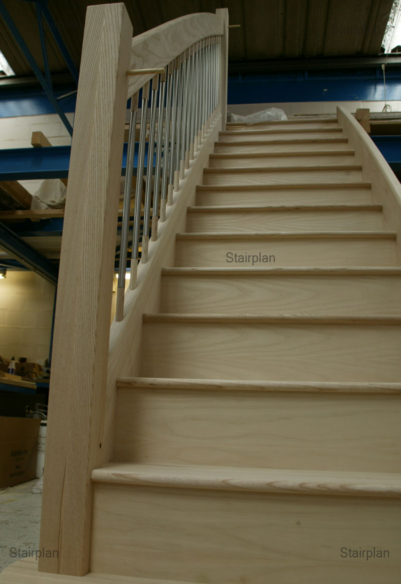 Ash Straight Staircase Enhanced Curve To Handrail