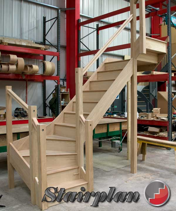 oak double winder staircase