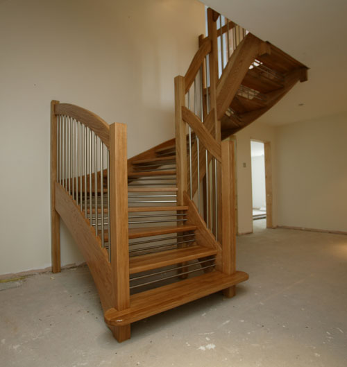 Oak Openplan Staircase European style handrail stainless stell riser bars and balusters