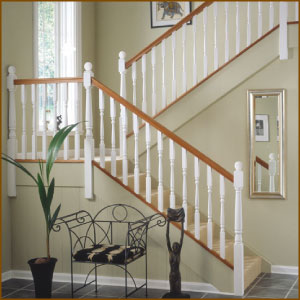 White Spindles with Hardwood Handrail