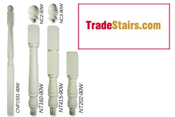 White primed stair parts turned newel posts