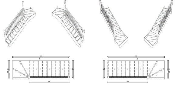 Selection of standard sized winder staircases