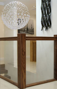 Black Walnut Handrail Vision Glass Balustrade Panels ...