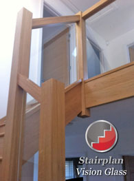 Oak stairway with glass banister systems