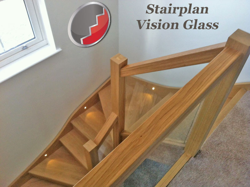 OAK staircase with glass panels