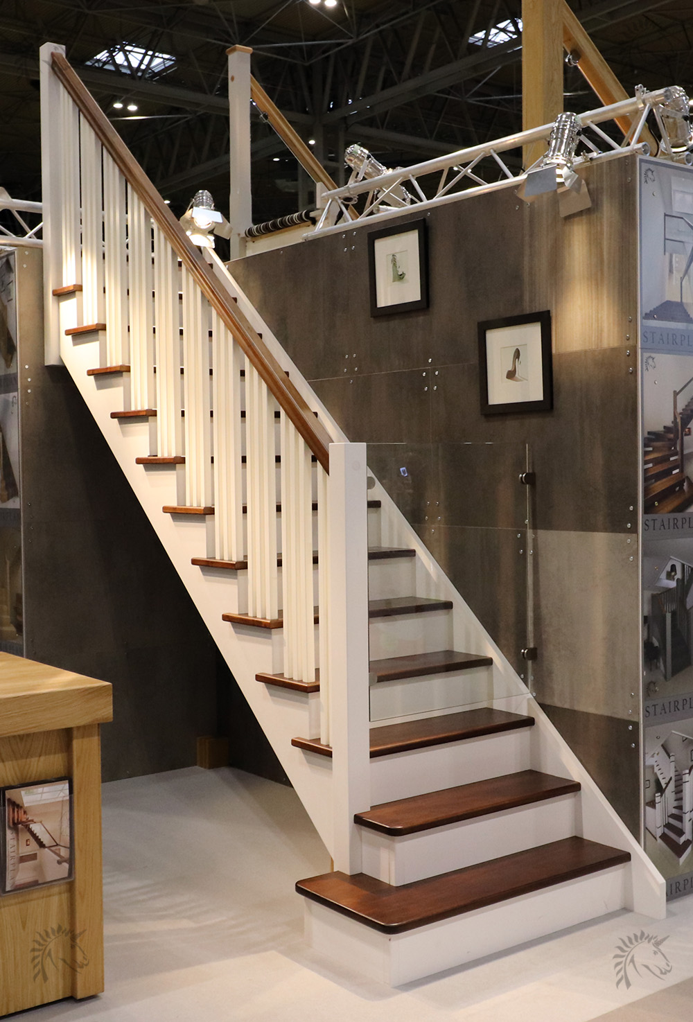 new york walnut and white open string staircase design