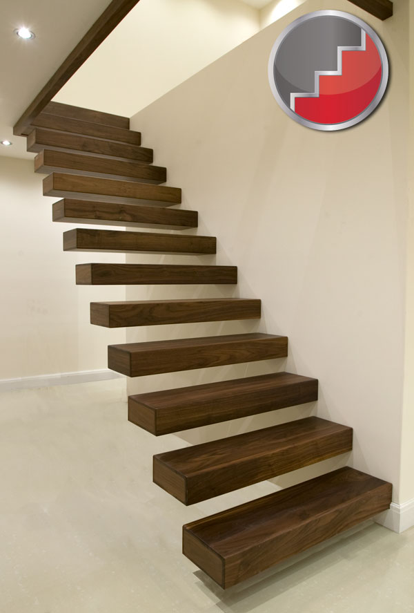 Floating staircases black walnut floating staircase Floating stairs